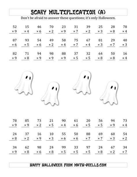printable halloween multiplication worksheets scary multiplication 2 digit by 1 digit a