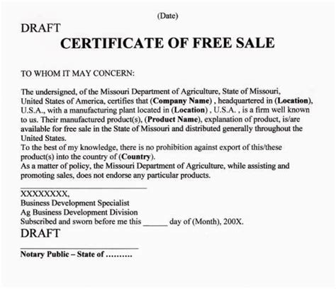 free sale certificate template step by step guide to apostille certificate of free sale