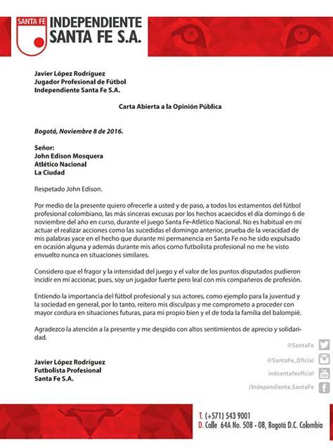 ejemplo carta de disculpa javier l 243 pez envi 243 carta de disculpas a john mosquera por