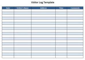 visitor log template pin visitor log template sle format exle on