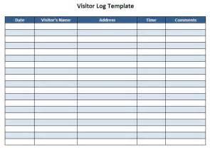 Sample visitor sign in log