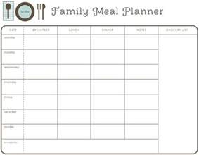 family meal plan template weekly family meal planner meal planning