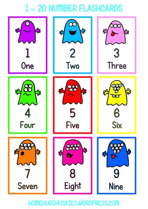 printable number and number word cards teaching thursday free monster maths printables