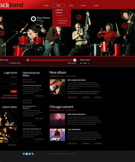 websites for house music music band website template 41992