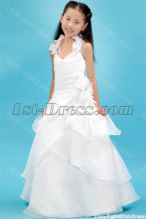 Ivory Organza Beautiful Mini Bridal Gowns for Girls:1st