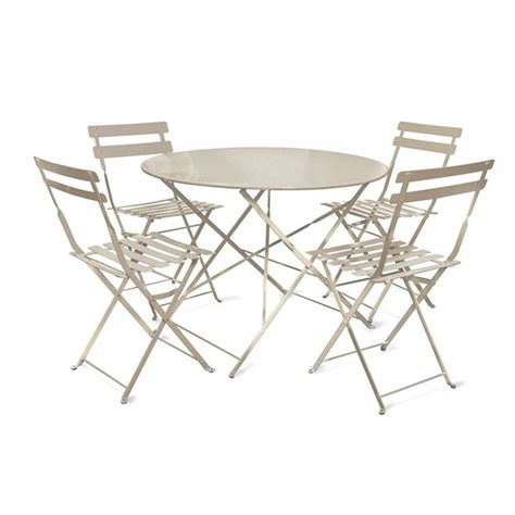 Large Bistro Table And Chairs Large Rive Droite Metal Bistro Table 4 Chairs In Clay The Farthing