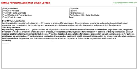 Surgeon Assistant Cover Letter by Physician Assistant Cover Letters Sles