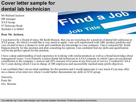 Orthodontic Technician Cover Letter by Dental Lab Technician Cover Letter