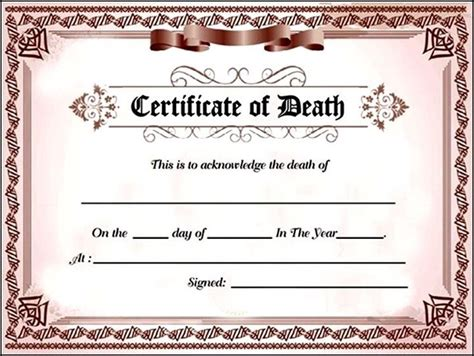 fake death certificate template for free sle templates