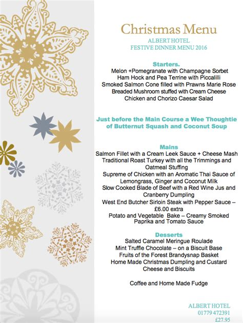 festive dinner menu peterhead restaurant albert hotel peterhead