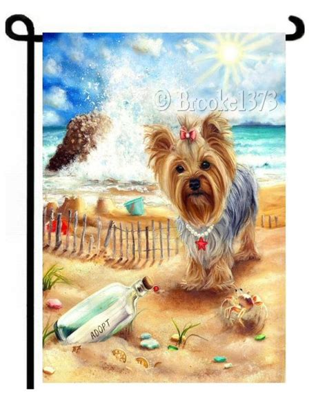 yorkie garden flag yorkie by sea painting message in a bottle garden flag terrier