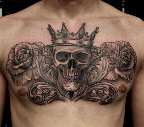 black and grey chest tattoos skull with crown roses chest chest