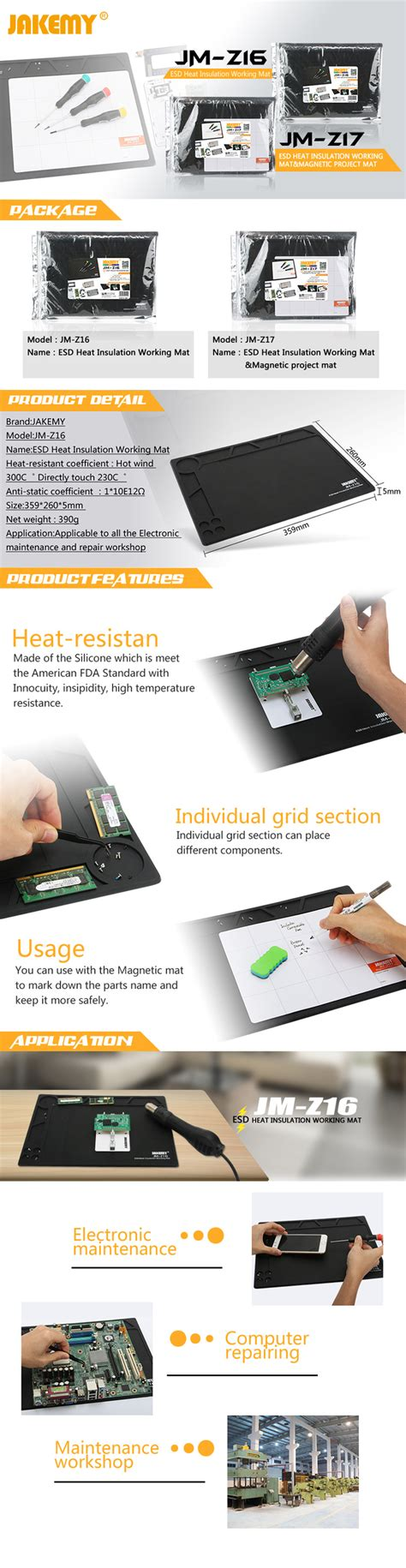 Jakemy Esd Heat Insulation Working Mat With Magnetic Jm Z17 jakemy jm z16 esd heat insulation working mat tvc mall