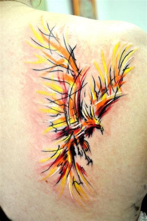 Phoenix Tattoo Abstract   flying phoenix abstract tattoo on back shoulder