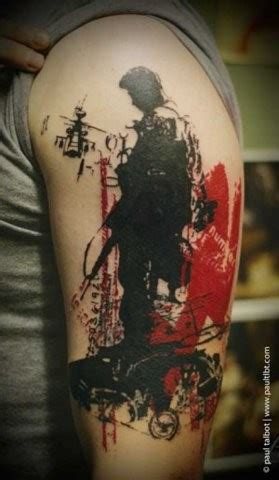 colored trash polka style forearm of seductive great trash polka pictures tattooimages biz