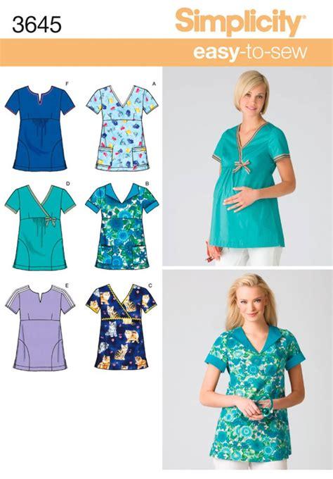 sewing pattern uniform oop maternity or regular scrubs uniform simplicity sewing