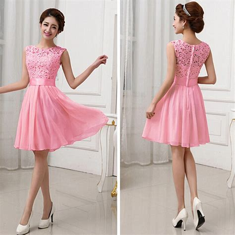 Womens Sweet White O Neck Gown Dress a line pink white chiffon formal gowns sweet o neck sleeveless