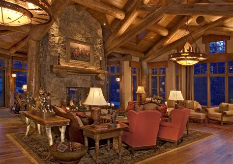 rustic log home traditional living room denver by