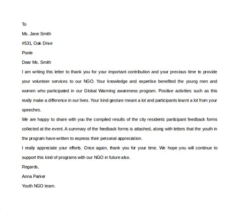 Thank You Letter Template Volunteer Volunteer Thank You Letter 9 Free Documents In Pdf Word
