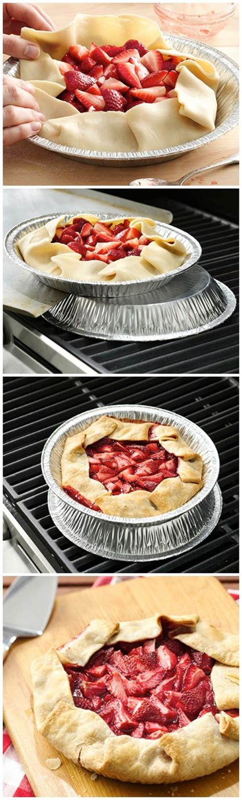 easy grilled dessert how to four simple steps to strawberry pie on the grill summer recipes