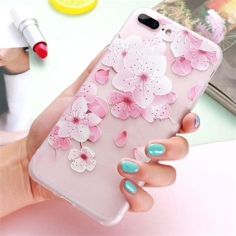Iphone 6s Plus Remax 3d Relief Model 3 3d relief flower for iphone 7 8 plus iphone 6 girly soft silicon cover for iphone
