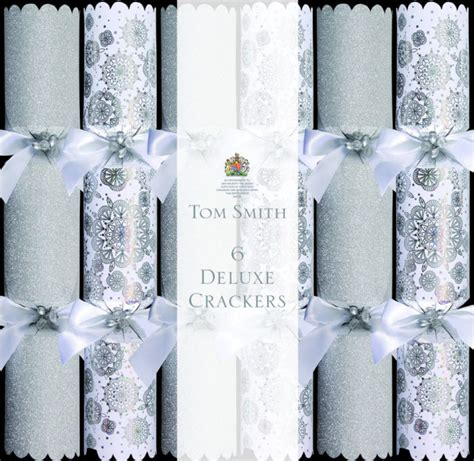 silver glitter deluxe christmas crackers