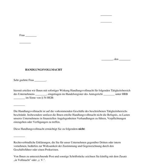 handlungsvollmacht vorlage zum ausf 252 llen word und pdf