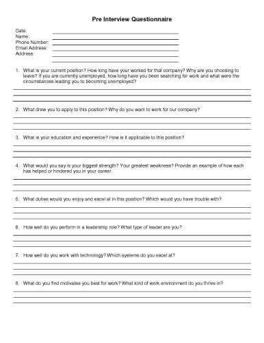 pre questionnaire template 32 sle questionnaire templates in microsoft word