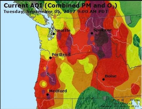 seattle air quality map central wa wildfires shroud seattle in ash smoke