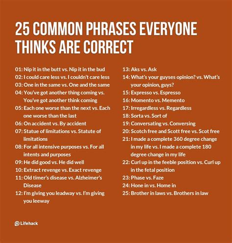 phrases quotes 25 common phrases everyone thinks are correct