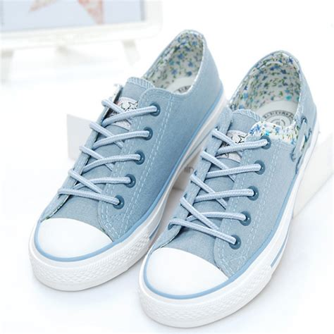 fashion mesh sneakers sky blue floral casual fashion canvas shoes sky blue