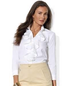 ralph lauren ruffled cotton blouse