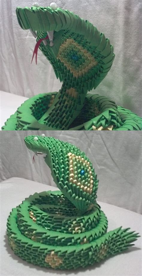 How To Make A 3d Snake Out Of Paper - 3d origami snake by xanokah on deviantart