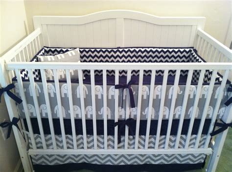 Gray Crib Bedding Sets Navy And Gray Elephant Crib Bedding Set By Butterbeansboutique