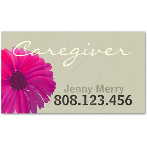 Flower Card Templates by Flower Caregiver Business Card Template Caregiver Card