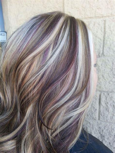 how to put lowlights in grey hair chocolate brown purple lowlights in blonde hair google