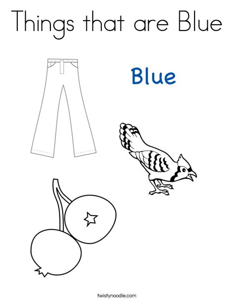 Blue Coloring Pages things that are blue coloring page twisty noodle