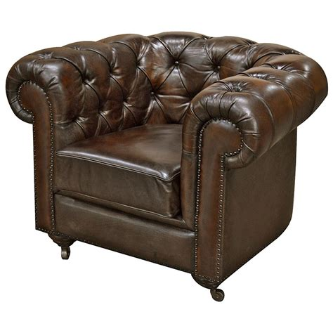 rustic leather armchair ace rustic lodge tufted dark brown leather casters