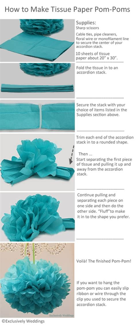 How To Make A With Tissue Paper - how to make tissue paper pom poms exclusively weddings