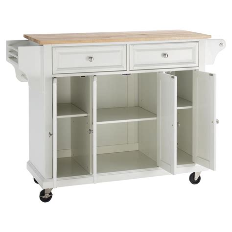 White Kitchen Island Cart Wood Top Kitchen Cart Island Casters White Dcg Stores