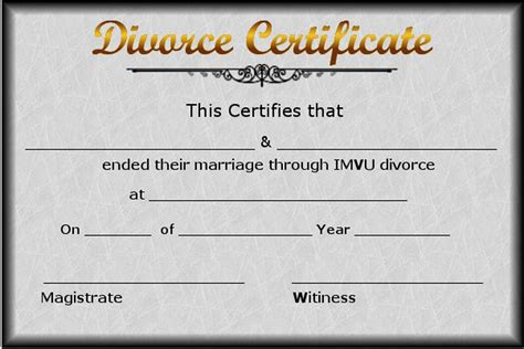 Free Marriage And Divorce Records Divorce Certificate Template Certificate Templates