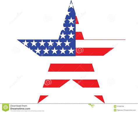 American Ster big american flag on white background stock