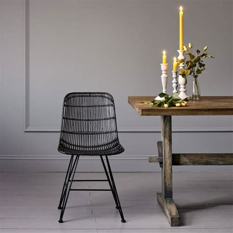black rattan dining chairs rattan dining chair in black desk dining chairs