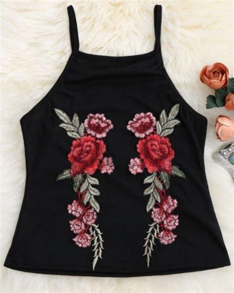 Flower Top Blouse Crop Top blouse crop cropped girly black black top crop tops