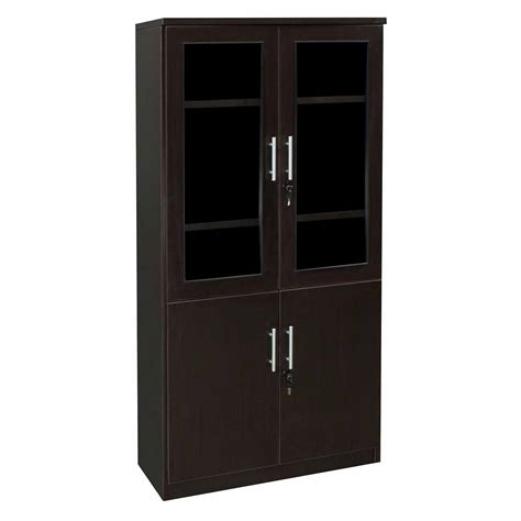 Glass Bookcase With Doors Everyday 65 In Laminate Bookcase With Glass Doors Espresso National Office Interiors And