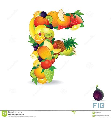 fruit 7 letters vector alphabet from fruit letter f royalty free stock