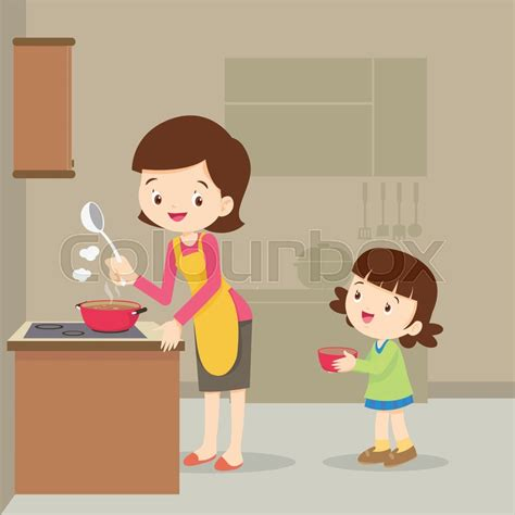 Room Sketch Free vector illustration of a mother and daughter cooking girl