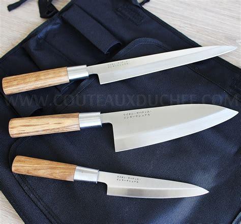 couteau de cuisine sabatier trousse style japonais 3 couteaux avec protection