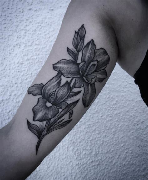 black iris tattoo 50 enchanting flower tattoos for fall tattooblend
