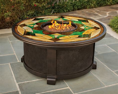 Nuriel Outdoor Gas Fire Pit With Stained Glass Top Glass Pits